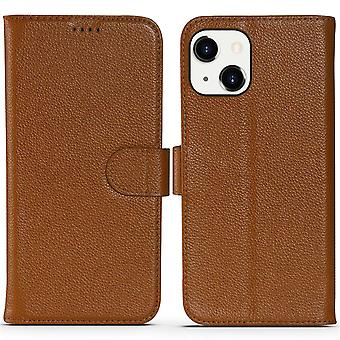Para iPhone 13 Case Fashion Cowhide Genuine Leather Wallet Cover Marrón