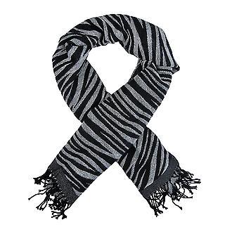 Svart / hvit Zebra Stripe skjerf sjal Fringed