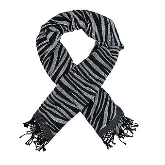 Black / White Zebra Stripe Scarf Shawl Fringed