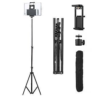 justerbar 2,1m stativ stativ kamera telefon tablett universell aluminium montering svart