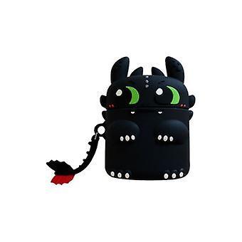 Iskunkestävä suojaava silikonikotelo Apple Airpods -kuulokkeillesi - Musta lohikäärme