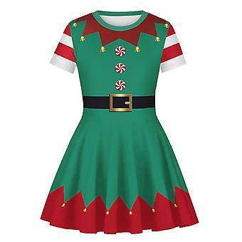 Deti Dievča Vianoce Elf Print Skater Šaty Xmas Party Swing Fancy Šaty