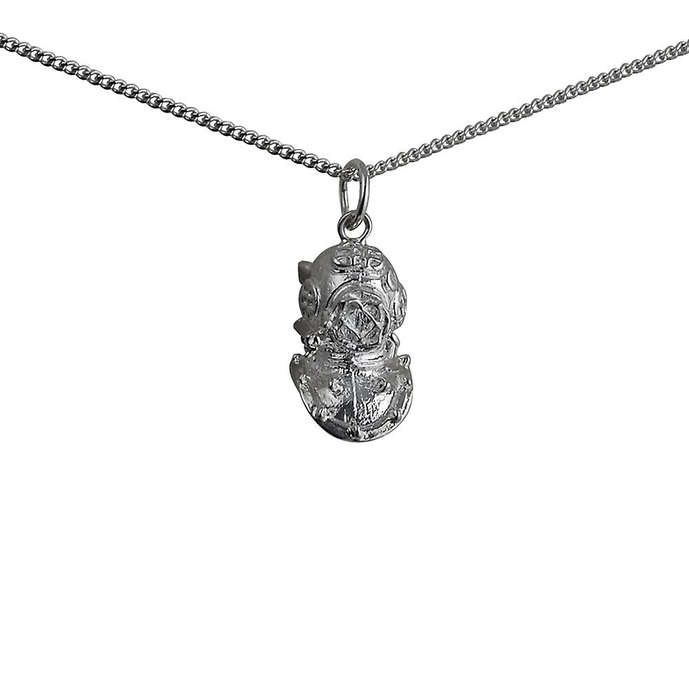 Silver 17x11mm Deep Sea Divers Helmet Pendant with a curb Chain 18 inches