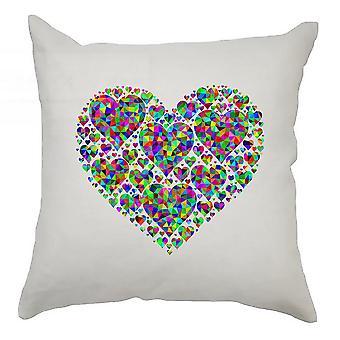 hjerter putetrekk 40cm x 40cm - fargerikt hjerte fullt av hjerter