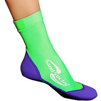 Sand Socks Classic High Top Neoprene Athletic Socks - Lime/Purple