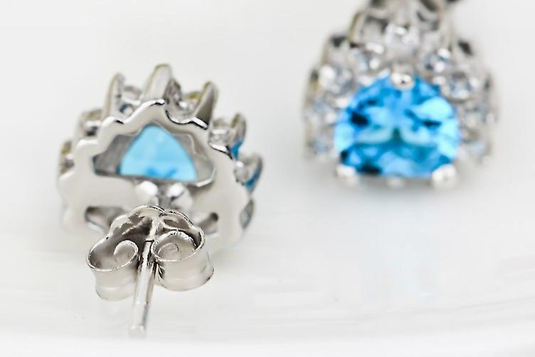 Affici Sterling Silver Earrings 18ct White Gold Plated with Heart Cut London Blue Topaz CZ Gems