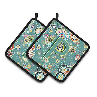 Letter P Circle Circle Teal Initial Alphabet Pair of Pot Holders