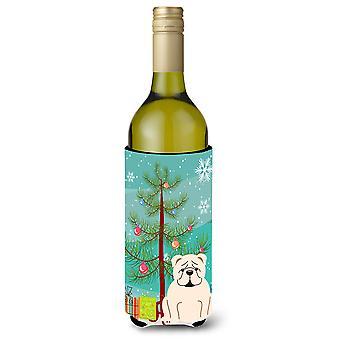 Merry Christmas Tree Englanti Bulldog valkoinen viinipullo Beverge eriste Hugger