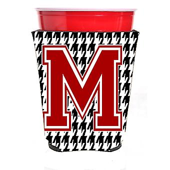 Monogram - Houndstooth  Initial  M Red Solo Cup Beverage Insulator Hugger