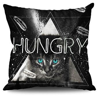 Hungry Sky Cute Linen Cushion 30cm x 30cm | Wellcoda