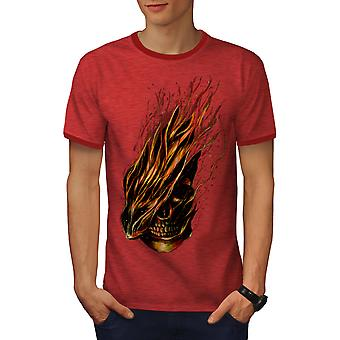 Ruskea kauhu Biker Skull miesten Heather / RedRinger t-paita | Wellcoda