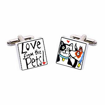 Sonia Spencer Love from the Pets Blue Collar Cufflinks - English Bone China Hand Crafted
