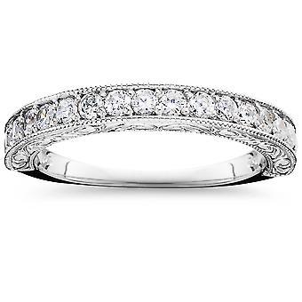 1/2 CT Vintage prírodný diamant snubný prsteň 14K biele zlato