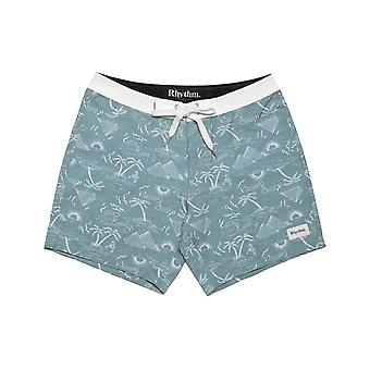 Rhythm Desert Palm Trunks Mid Length Boardshorts in Sea Foam