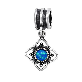 Flower - 925 Sterling Silver Jewelled Beads - W29565x