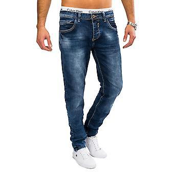 Pierre de mens Jeans en Denim délavé bleu AARON Slim Fit Jeans/Pantalons Stretch conique