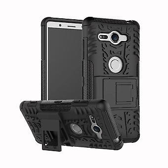 Hybrid Case 2teilig Robot Schwarz für Sony Xperia XZ2 Compact Tasche Hülle Cover Schutz
