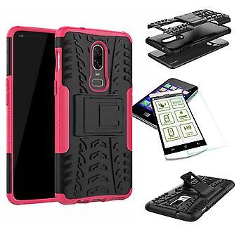 Para a OnePlus 6 seis híbrido caso 2 pedaço SWL vidro temperado + rosa bolsa capa case luva