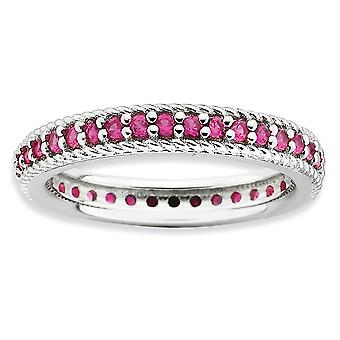 3.25mm 925 Sterling Silver Prong ensemble Rhodium plaqué Expressions empilables poli créé Ruby Eternity Ring Bijoux G
