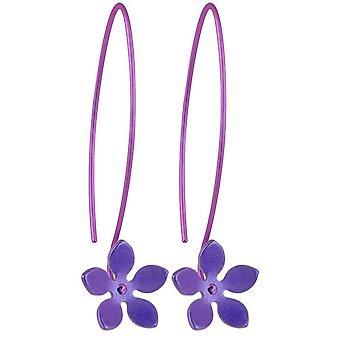 Ti2 Titanium 13mm vijf Petal bloem Drop Oorbellen - Imperial Purple
