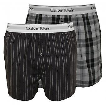 Calvin Klein 2-Pack striper & pledd vevd underbukser Slim-Fit, grå/svart