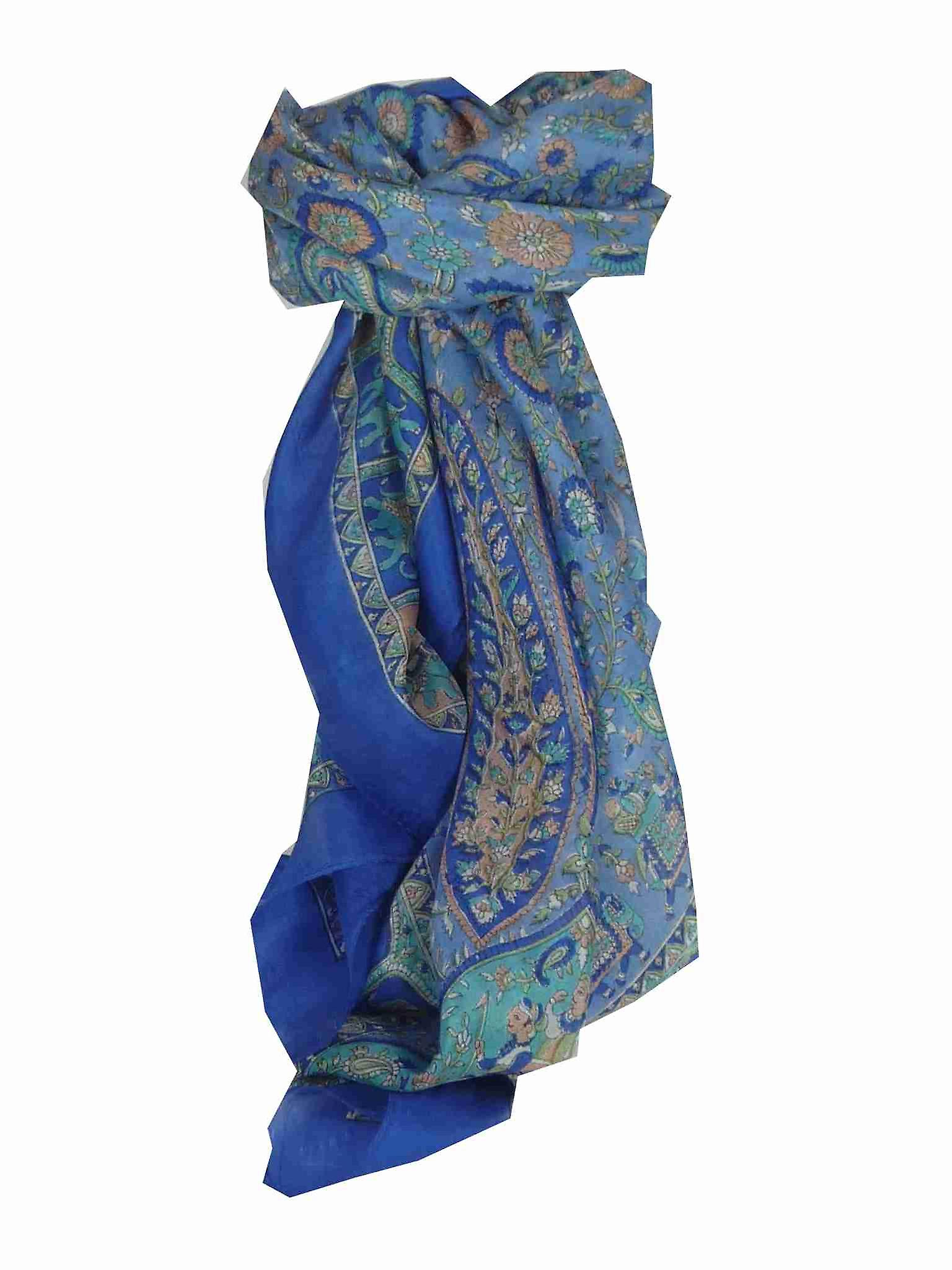 Mulberry Silk Traditional Square Scarf Donya Blue by Pashmina & Silk