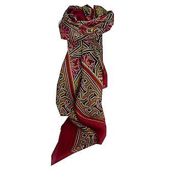 Bufanda de seda de morera contemporáneo Plaza Disha fucsia por Pashmina y seda