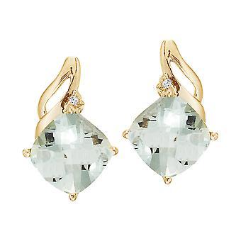 LXR 14K الذهب الأصفر الأخضر الجمشت والأقراط الماس 3ct