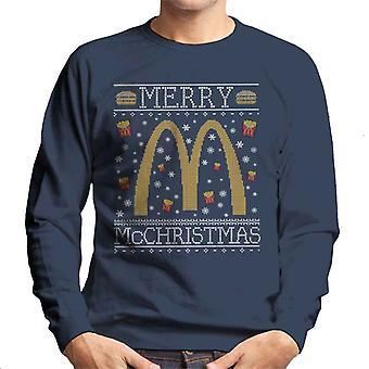 Merry McChristmas McDonalds kerst brei patroon mannen Sweatshirt