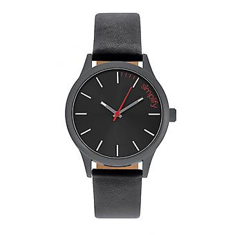 Simplify The 2400 Leather-Band Unisex Watch - Black