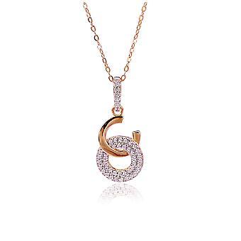 Orphelia 925 sølv vedhæng med kæde 42 CM Rose med 2 kredse og Zirconium
