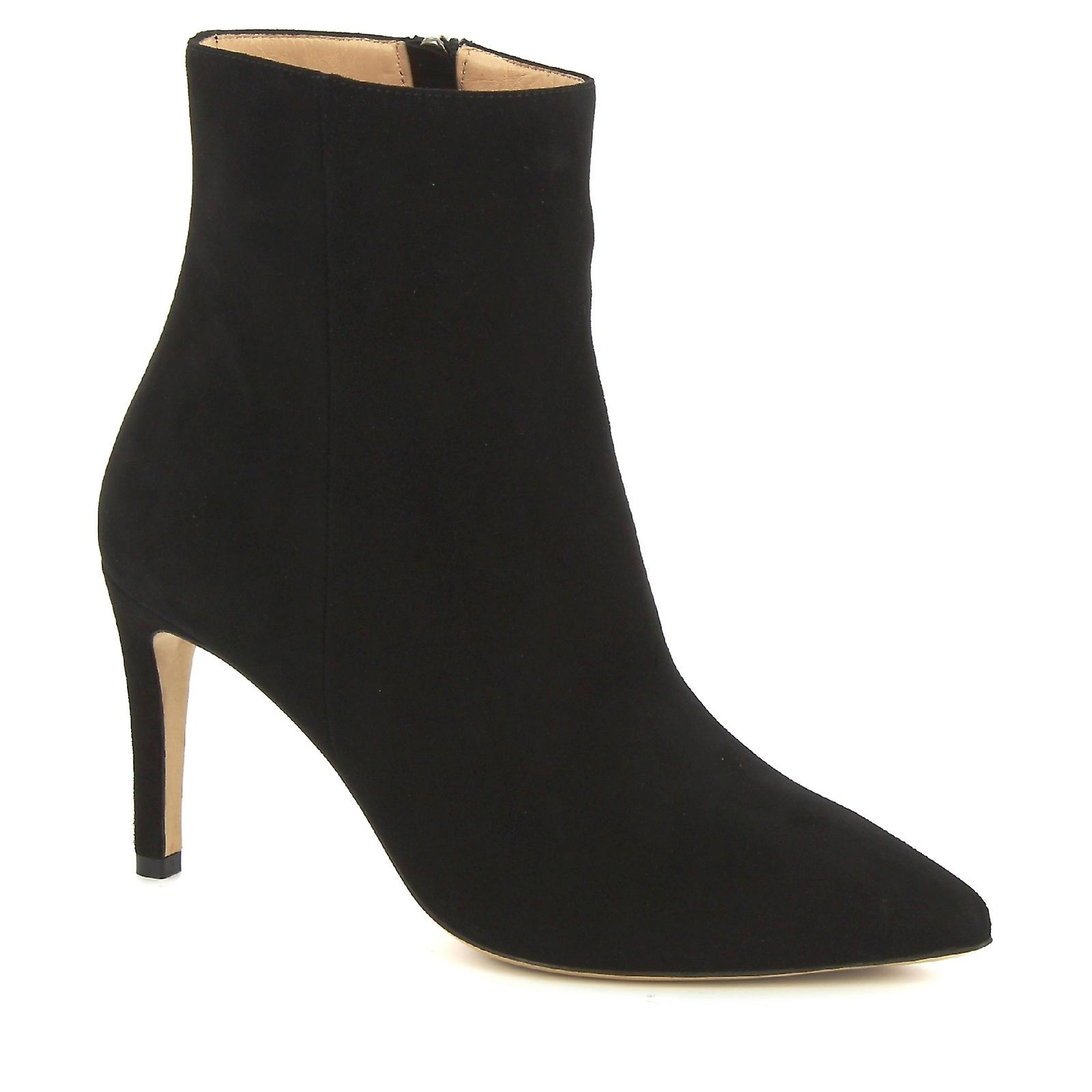 Leonardo Shoes Women's handmade heeled ankle boots in black suede leather