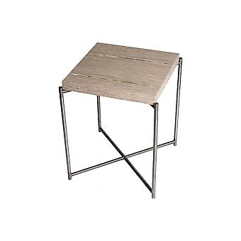 Gillmore Space Weathered Oak Square Side Table con Gun Metal Cross Base