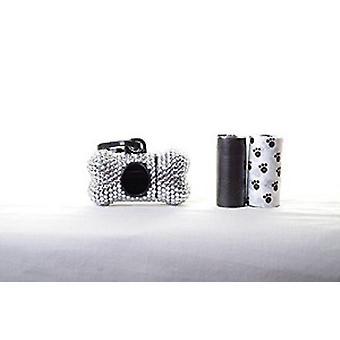 Silver Crystal Rhinestone Bone shaped Waste Bag Dispenser