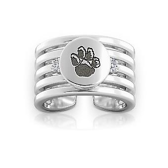 University of Pittsburgh Logo graviert Sterling Silber Diamant Multiband Manschette Ring