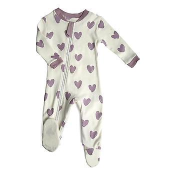 ZippyJamz कार्बनिक बेबी पैर स्लीपर पजामा डब्ल्यू Inseam जिपर आसान बदलने के लिए