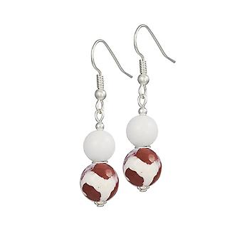 Eternal Collection Portamento White Jade And Red Agate Beaded Drop Pierced Earrings