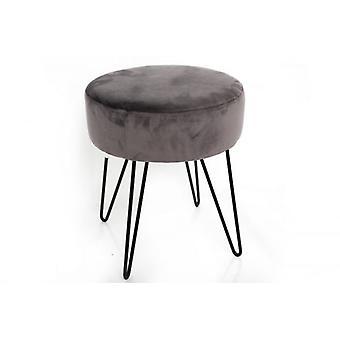 35 x 40 grå velour rund skammel ben resten med metaltråd ben