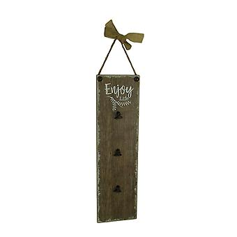 Rustic Wood Enjoy Life Vertical Hanging Memo Board with 3 Clips