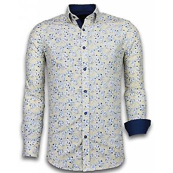 E Shirts - Slim Fit - Drawn Flower Pattern - Beige