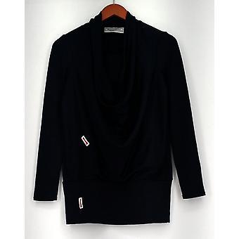 George Simonton Top XXS Cowl Neckline Knit w/ Long Sleeves Navy Blue A256947