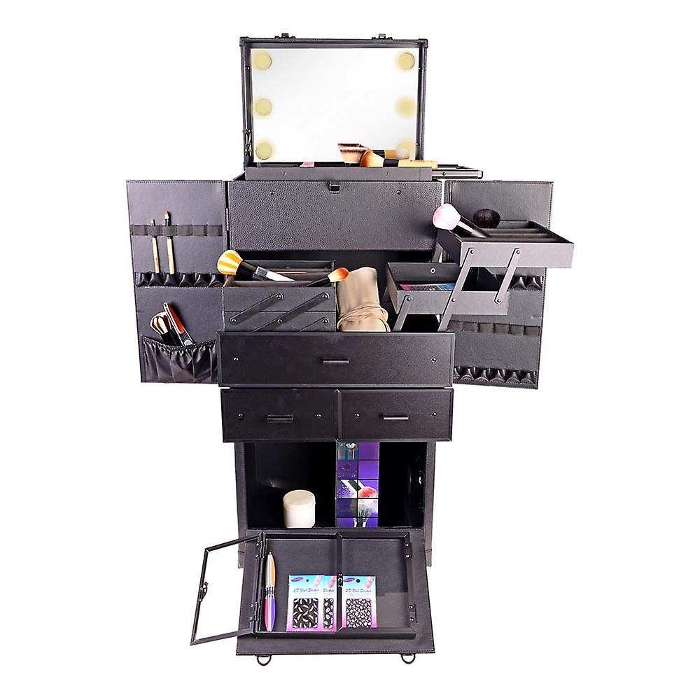 SHANY REBEL Pro Makeup Artist Multifunction lighted Cosmetics Rolling Case