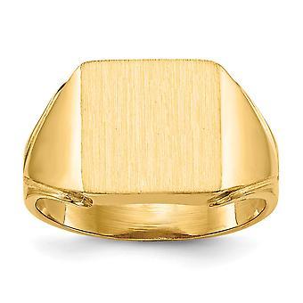 14 retro giallo oro lucido aperto k Engravable Mens dell'anello di Signet - 5,4 grammi - misura 9
