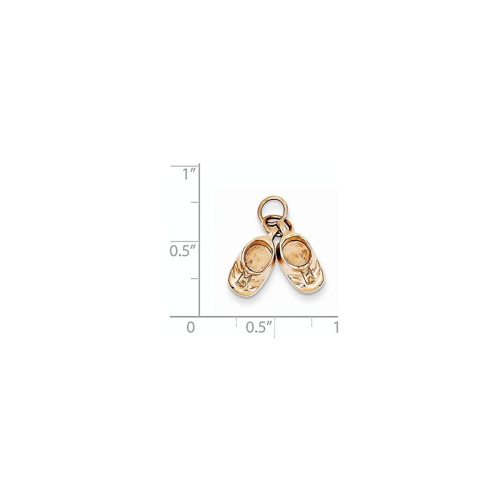 14k Rose Gold Solid Polished Engravable Baby Shoes Charm Pendant Necklace Jewelry Gifts for Women