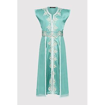 Kaftan radia girl's embroidered occasion wear party sleeveless dress and waist belt in satin light green (2-12yrs)