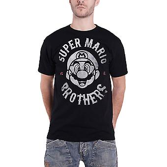 Super Mario T Shirt Biker Logo en détresse nouveau officiel Mens Black