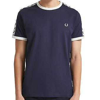 Fred Perry Taped Ringer camiseta de carbono azul