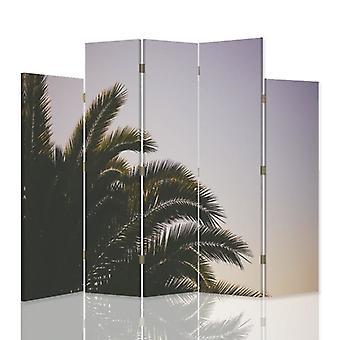 Divisor de habitación decorativa, 5 paneles, doble cara, lienzo, Palma