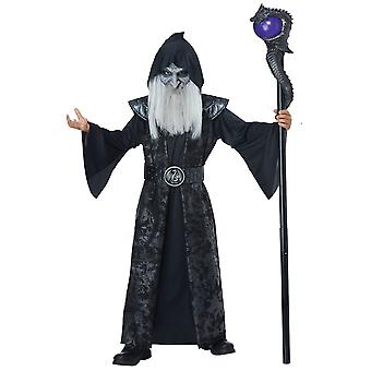 Dark Wizard Sorcerer Magician Medieval Robe Story Book Week Boys Costume