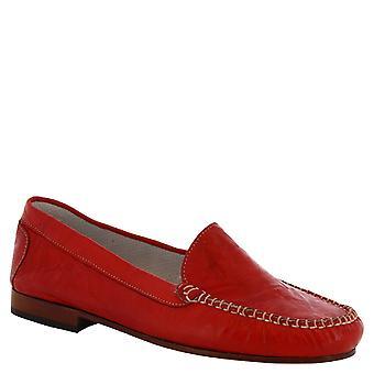 Leonardo Schuhe Frauen's handgemachte Loaferschuhe rotes Kalbsleder made in Italy